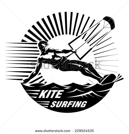450x470 Kite Surfing. Vector Illustration In The Engraving Style