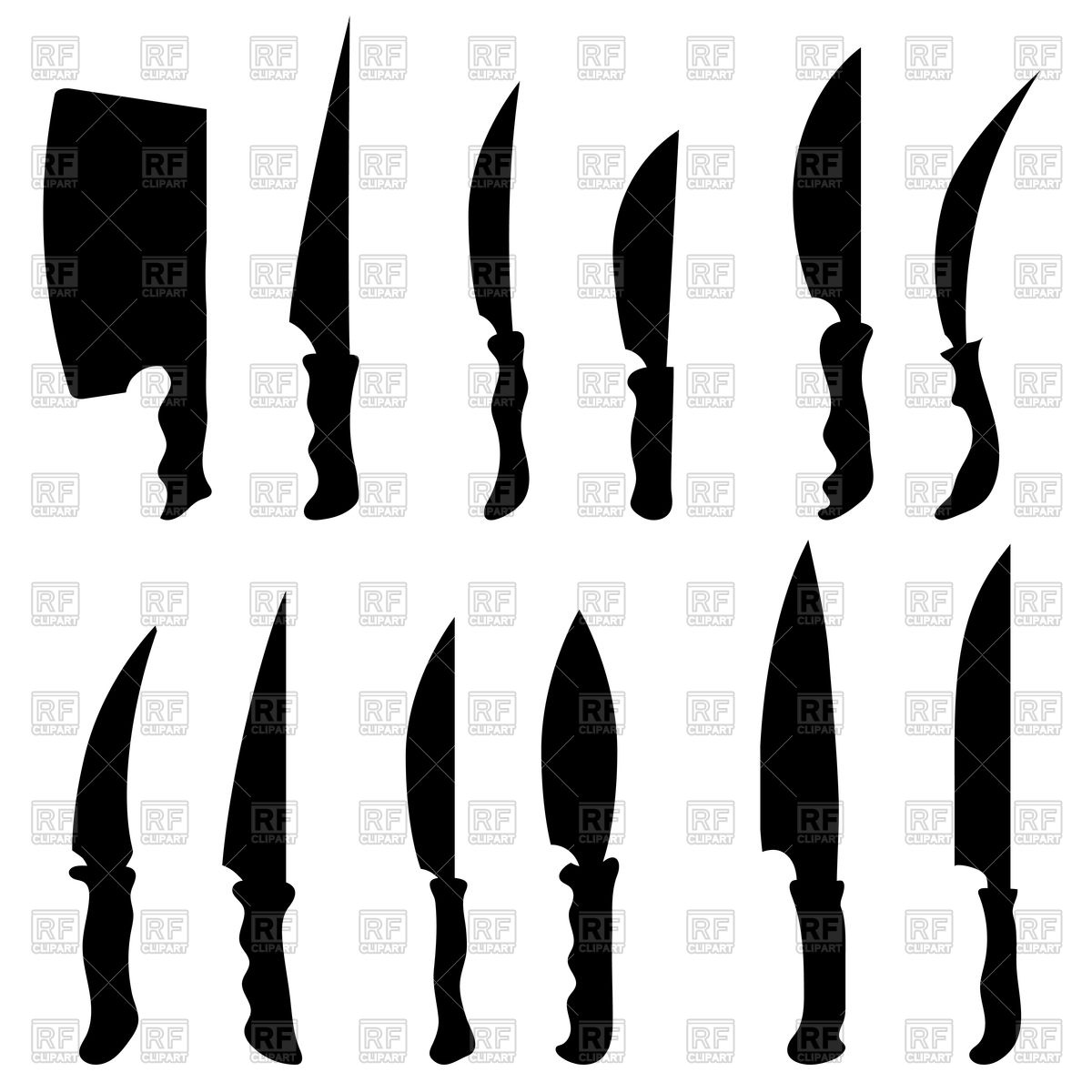 1200x1200 Set Of Knives Silhouettes Vector Image Vector Artwork Of