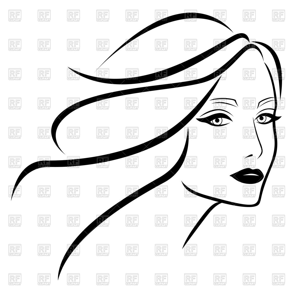 1200x1200 Outline Of Beautiful Young Lady With Wavy Hair Vector Image