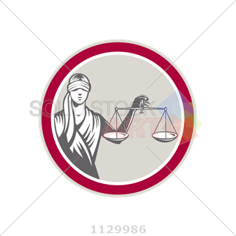 340x340 Stock Illustration Of Vector Lady Justice Holding Scale Frontal