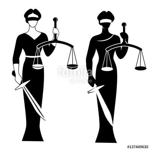 500x500 Lady Justice Black Vector Illustration Of Themis Statue Holding