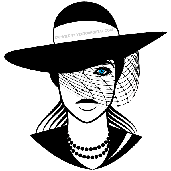 600x600 Beautiful Lady With Hat Vector Art Free Vectors