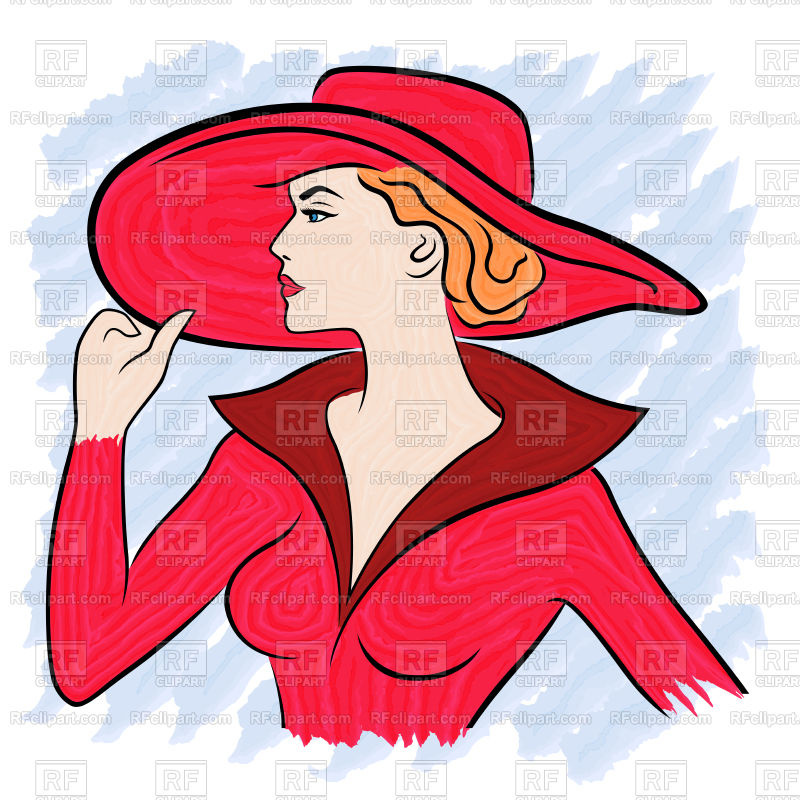 800x800 Beautiful Lady In Red Costume And In Wide Brimmed Hat Vector Image