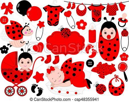 450x358 Vector Baby Girl Set With Ladybug Pattern. Vector Baby Girl