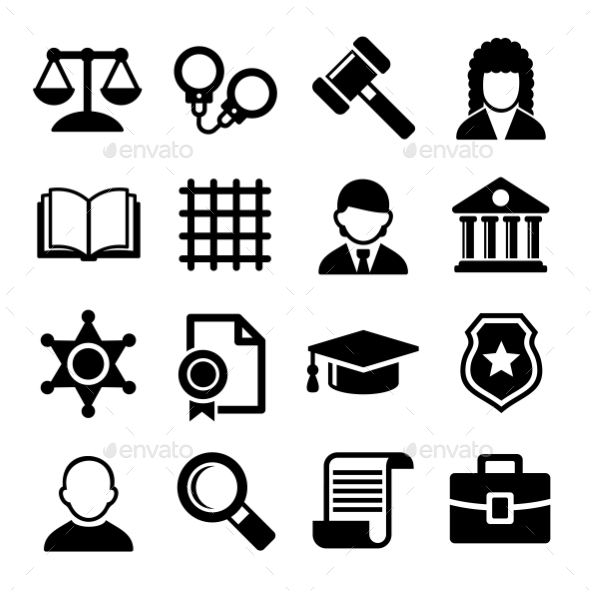 590x590 Law And Justice Icons Set. Vector By In Finity Graphicriver