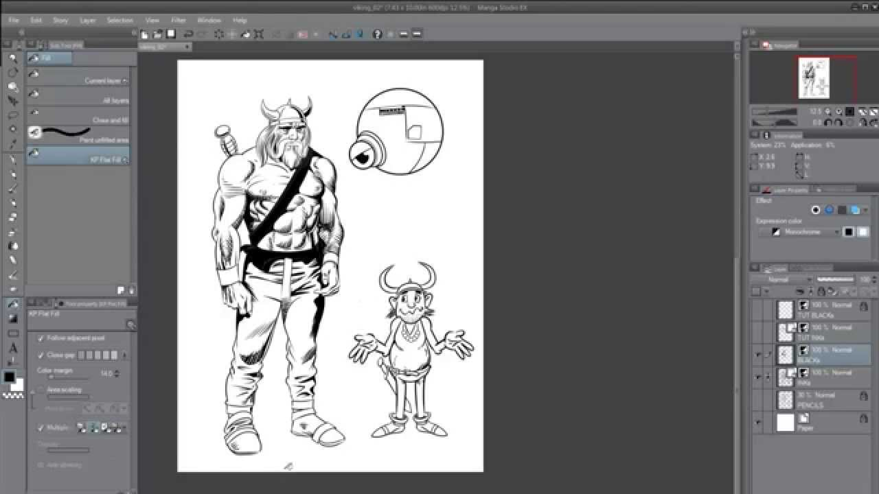 1280x720 Manga Studio 5 Vector Layer Workflow
