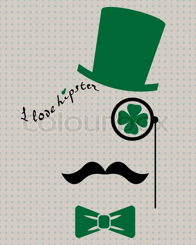 640x800 Abstract Vector Leprechaun Hipster Silhouette With Cylinder