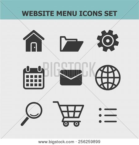 450x470 Website Menu Flat Vector Icons Set. Address, Folder, Settings