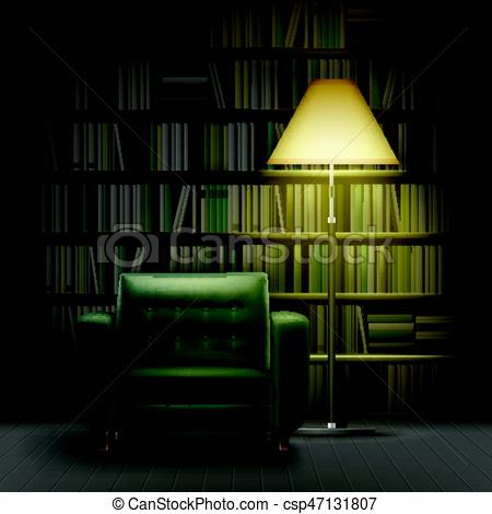 450x470 Home Library Interior. Vector Home Library Interior With Large