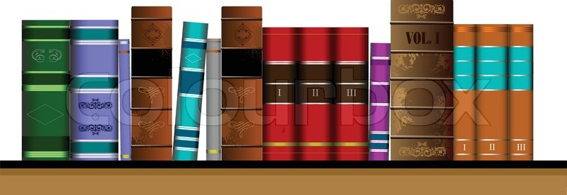 800x276 Vector Illustration Bookshelf Library With Old Books Stock
