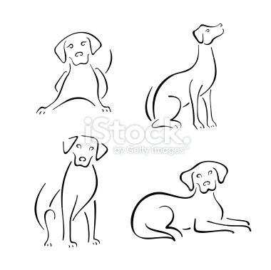 380x379 Four Stylized Dogs On A White Background. Furry And Fun