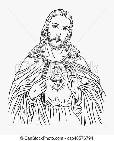 378x470 Jesus Christ Religion Art Line Drawing Style. Jesus Christ