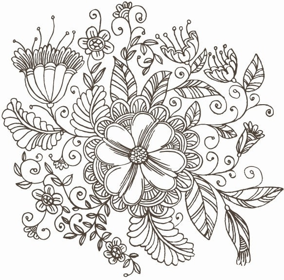 582x575 Line Drawing Swirl Flower Pattern Vector Graphic Free Vector In