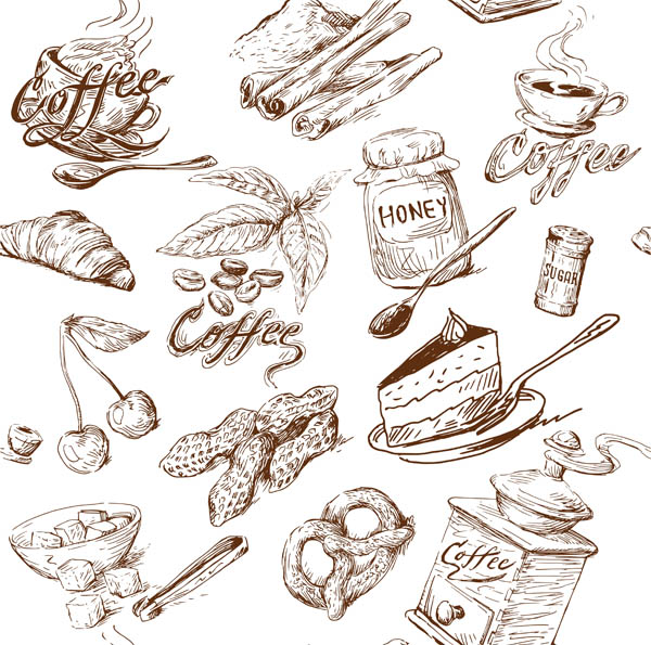 600x595 Line Drawing Of Food And Kitchen Utensils Vector Free Vector 4vector