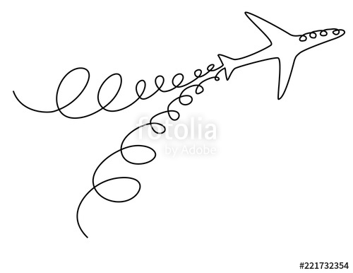 500x386 Plane One Line Drawing Stock Image And Royalty Free Vector Files