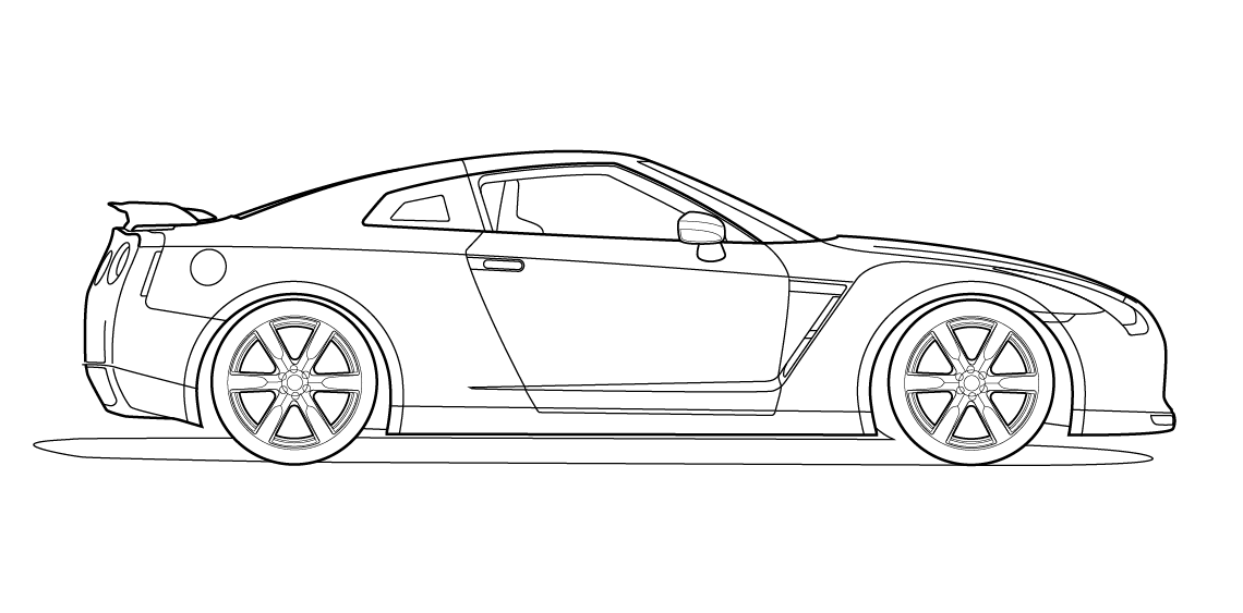1140x563 Side View Vector Line Drawing Of A Nissan Gt R Trashedgraphics