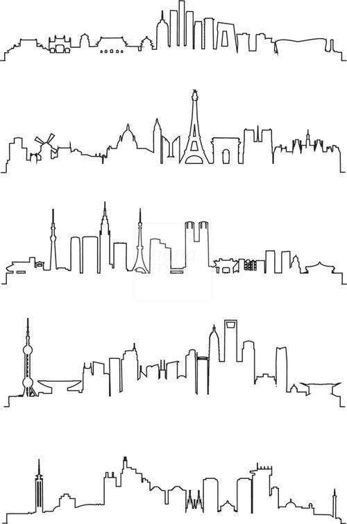 500x755 City Line Art Vector Drawing