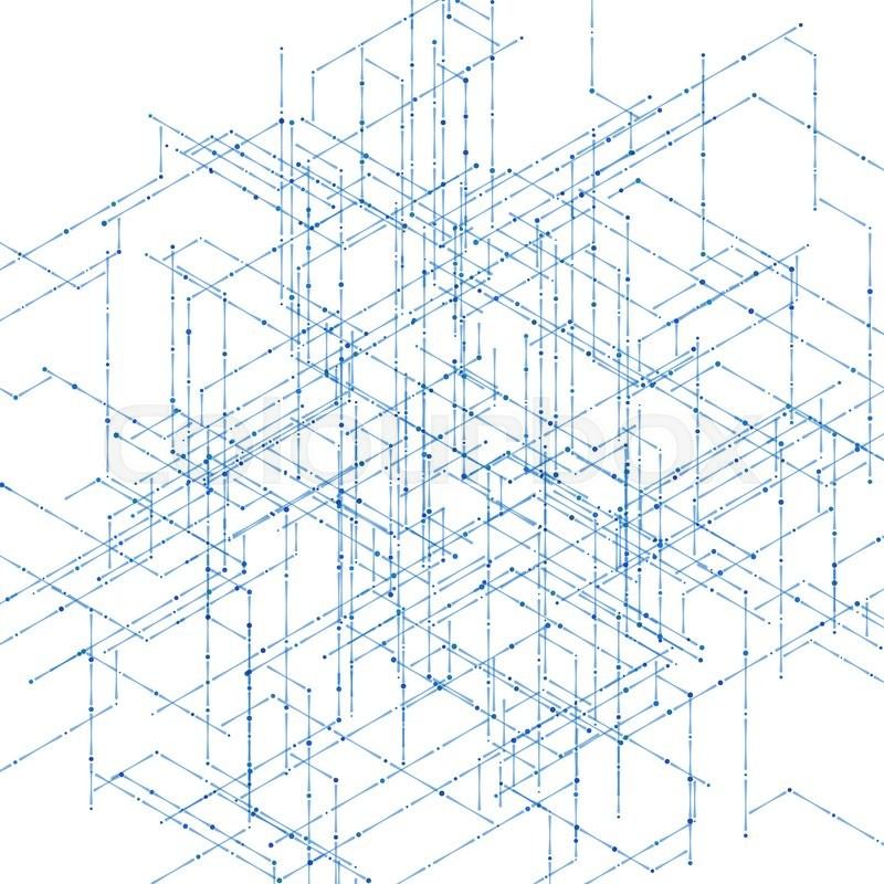 800x800 Abstract Isometric Computer Generated 3d Blueprint Visualization