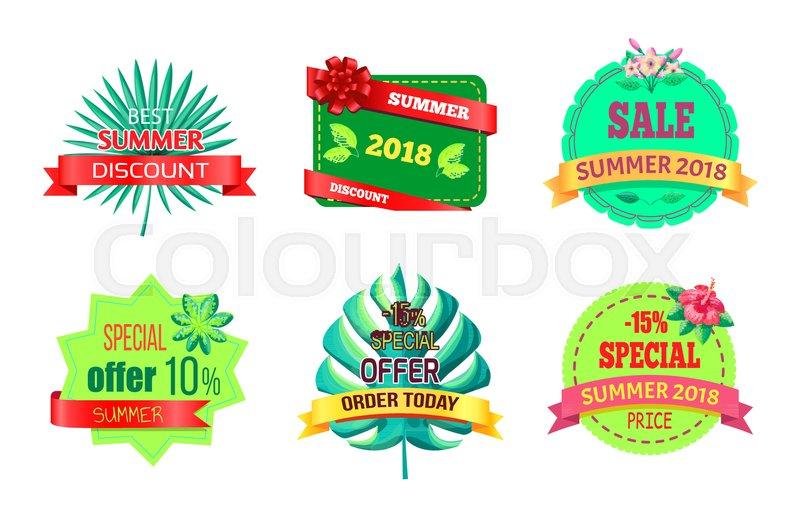 800x517 Best Summer Discount Logos Tropical Plants Leaves. Seasonal Sale