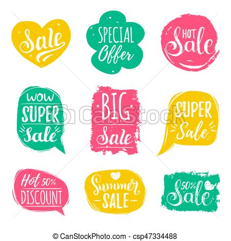 450x470 Vector Set Of Sale Lettering In Comic Speech Bubbles. Discount