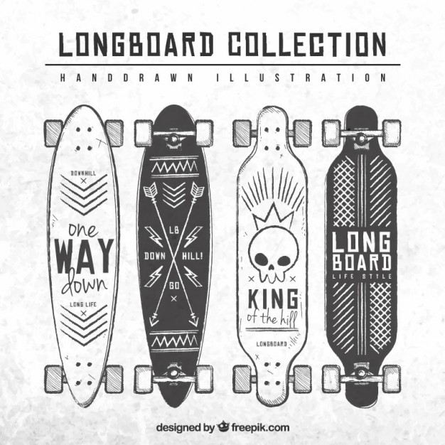 626x626 Hand Drawn Longboard Collection Vector Free Download