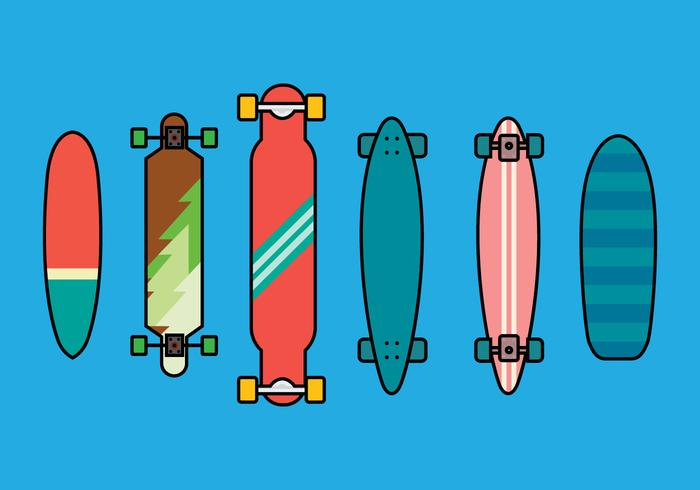 700x490 Longboard Vector Set 2