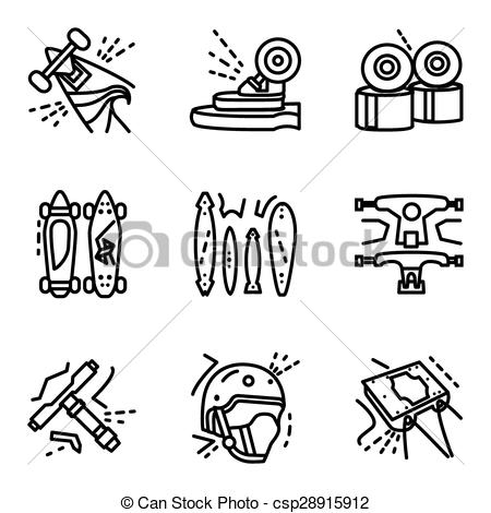 450x470 Longboard Simple Line Vector Icons Set. Set Of Black Flat Simple