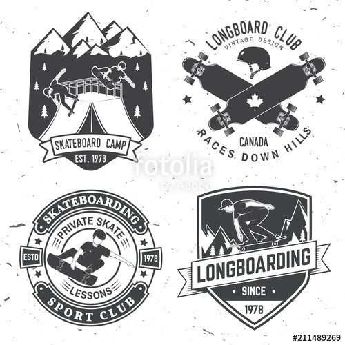 500x500 Set Of Skateboard And Longboard Club Badges. Vector Illustration