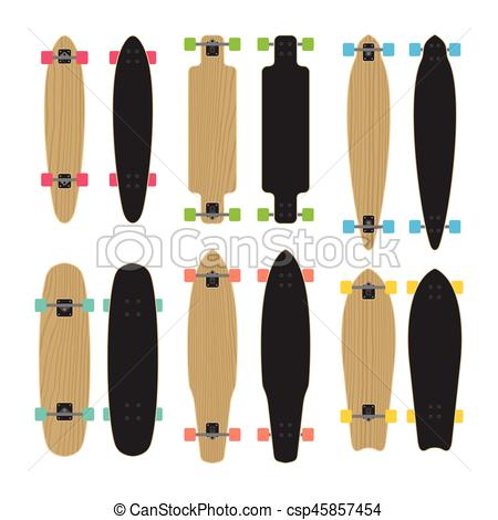 450x470 Skateboard Type Set. Set Of Skateboards And Longboards. Vector