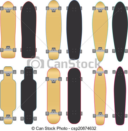 450x462 Skateboards And Longboards. Set Of Skateboards And Longboards