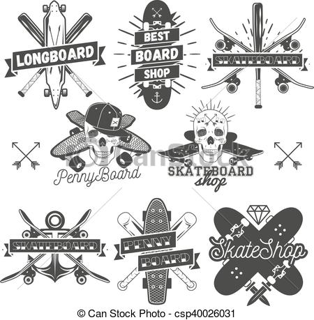 450x459 Vector Set Of Monochrome Skateboard, Longboard, Pennyboard Labels