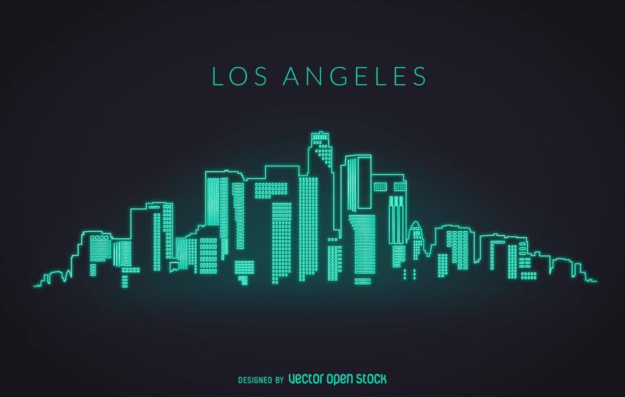 898x570 Graphic Design Los Angeles Los Angeles Neon Skyline Vector