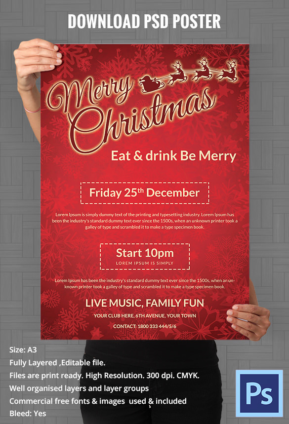 585x859 Free Flyer Maker Download Lovely 75 Christmas Poster Templates