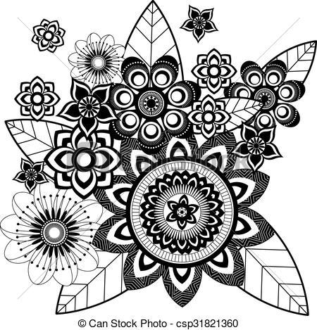 450x469 Flower Zentangle Mandala Vector.