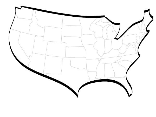 600x450 Stylised Vector Map Of Usa