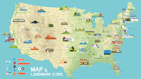 590x332 Usa Vector Map And Us Landmark Icons By Dem G Graphicriver