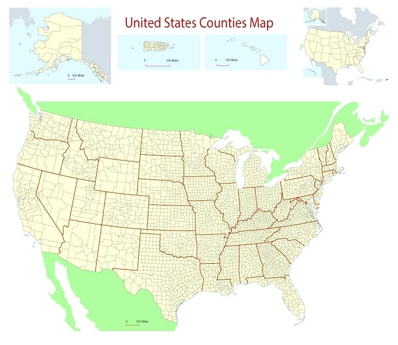 778x675 Wall Map United States Counties Showing