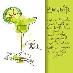 235x235 Illustration With Margarita Cocktail Vector Art Illustration