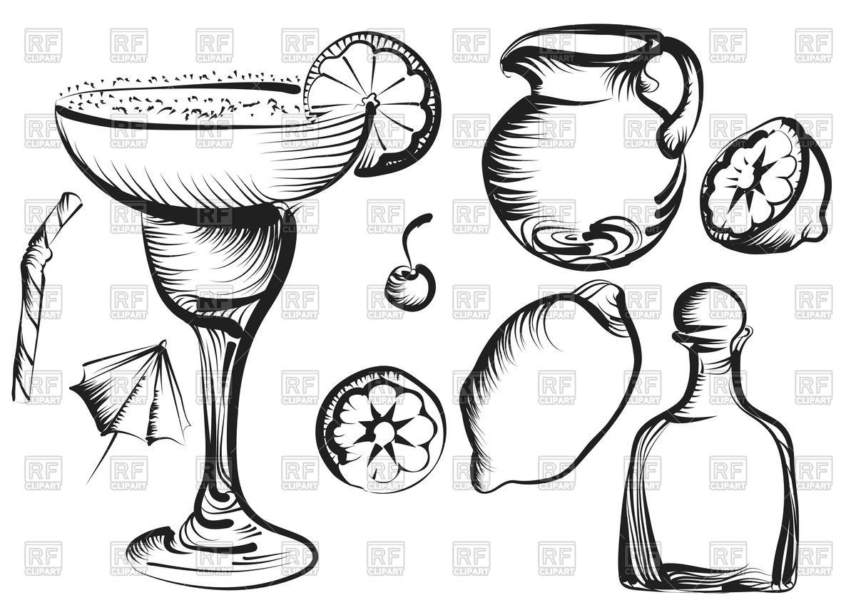 1200x849 Margarita Daiquiri Cocktail Set With Lime, Cherry, Lemon Vector