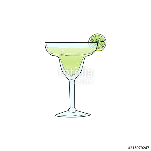500x500 Margarita Alcoholic Cocktail In Glass With Lime Slice. Vector