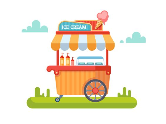 564x423 Trolley With Ice Cream. Cart And Sweet, Ice Cream, Kiosk And