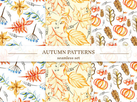 452x336 3 Painted Autumn Leaves Seamless Background Vector Material Free