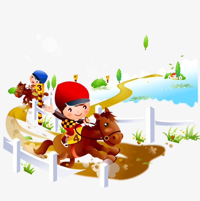 650x651 Equestrian Sports Cartoon Children Vector Material, Sports Clipart