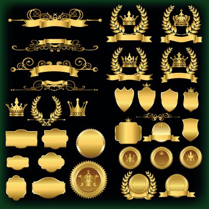 425x425 Luxury Golden Labels Vector Material Free Download