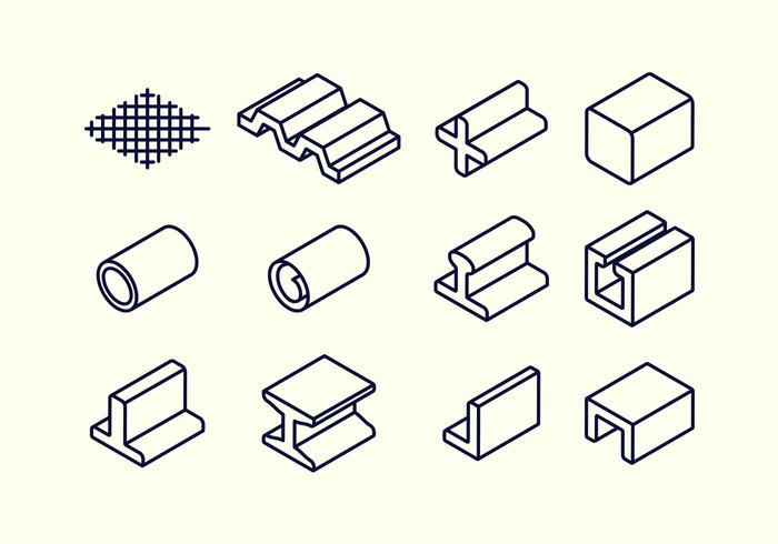 700x490 Steel Beam And Rebar Material Vector Icon