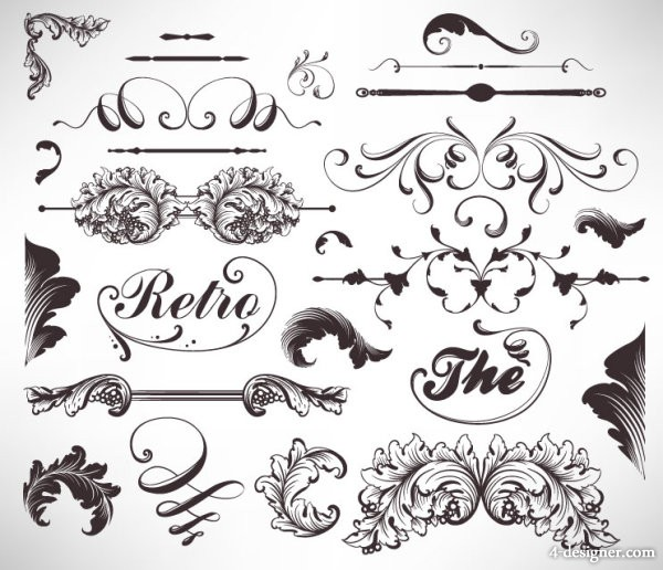 600x516 4 Designer Classic Lace Pattern 05 Vector Material