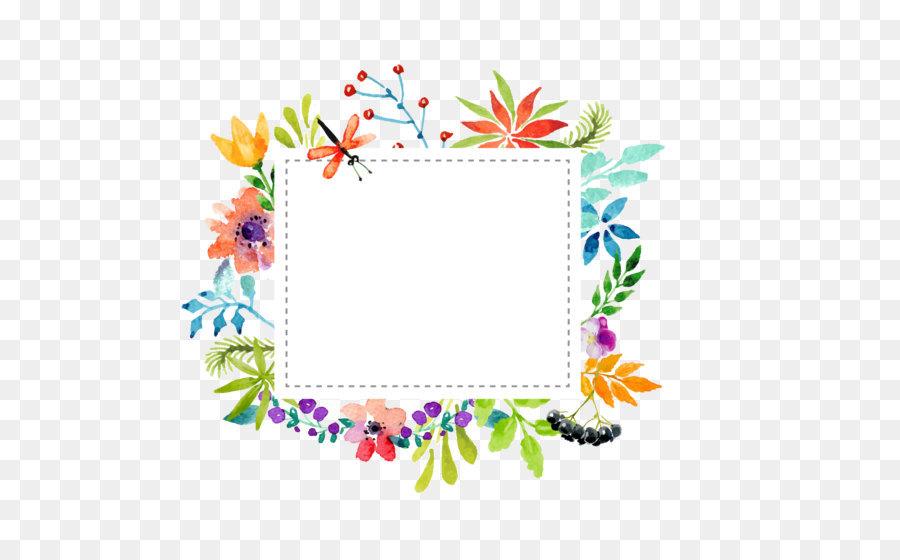 900x560 Watercolor Flowers Border Vector Material Png Download