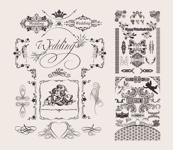 600x523 Wedding Lace Pattern Vector Material ~illustrations~