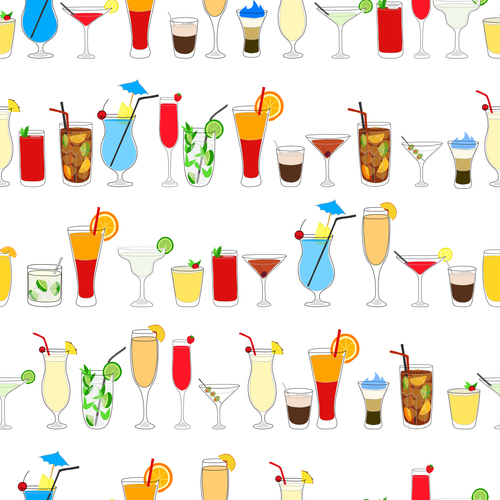 500x500 Cocktail Drink Seamless Pattern Vector Material Free Download