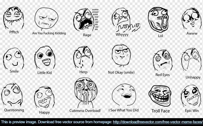 650x402 Free Vector Meme Faces Faces Meme Faces